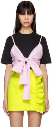 MSGM Black and Pink Striped Bra T-Shirt