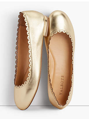 Talbots Penelope Scalloped Ballet Flats - Metallic Napa Leather