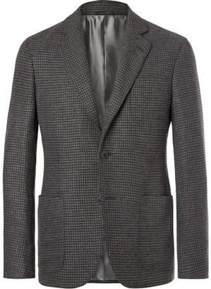 Giorgio Armani Grey Upton Slim-fit Unstructured Houndstooth Cashmere Blazer