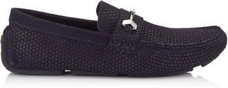 Jimmy Choo BREWER Navy Triangle Embossed Suede Driving Shoes