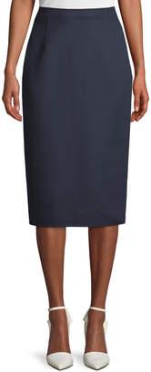 Oscar de la Renta Wool-Cashmere Midi Pencil Skirt