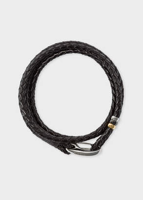 Paul Smith Men's Dark Brown Leather Wrap Bracelet