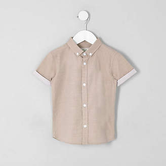 River Island Mini boys light pink RI short sleeve shirt
