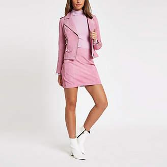 River Island Light pink suede side zip skirt
