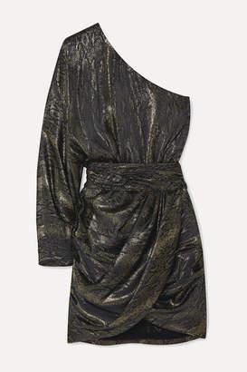Redemption One-sleeve Draped Metallic Silk-blend Jacquard Mini Dress - Silver