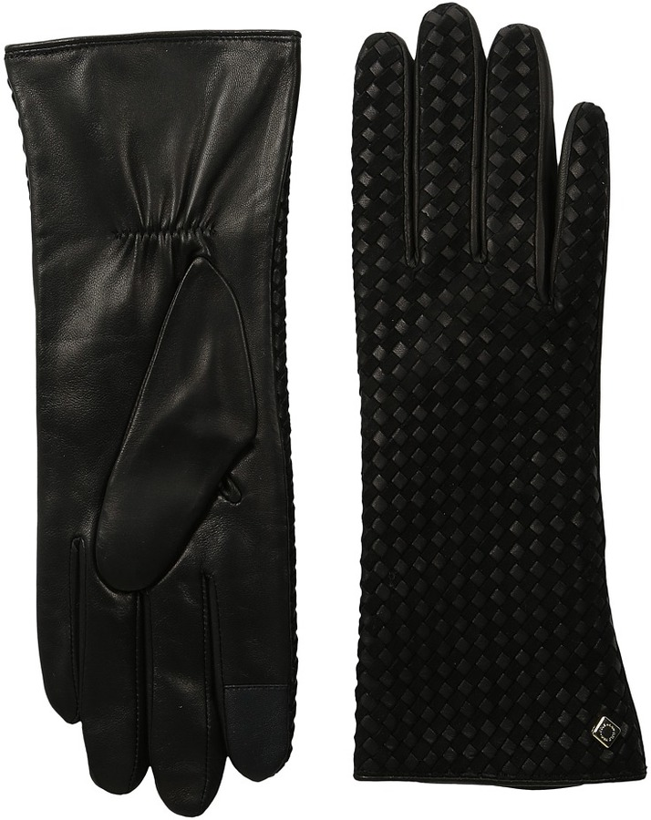 Cole Haan  Cole Haan Braided Back Leather Gloves with Tech