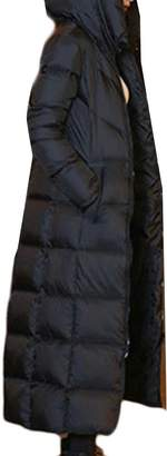 ainr Womens Warm Lightweight Quilted Length Long Hoodie Down Puffer Parka Coat XL