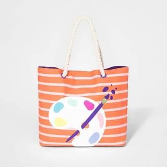 Cat & Jack Girls' Paint Palette Double Handle Tote Bag Pink