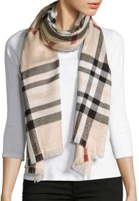 Lord & Taylor Metallic Plaid Scarf $48 thestylecure.com