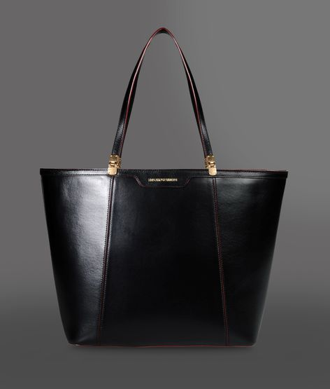 Emporio Armani Leather Shopping Bag With Piping