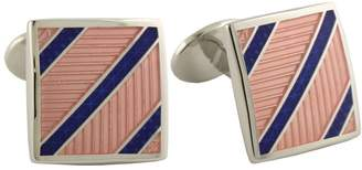 David Donahue Sterling Silver Diagonal Stripes Cufflinks - (H95539402)