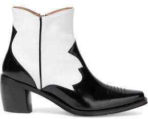 ALEXACHUNG Two-tone Glossed And Smooth-leather Ankle Boots