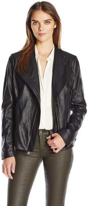 T Tahari Women's Kelly Asymmetrical Fitted Peplum Leather Jacket