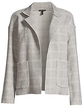 Eileen Fisher Women's Heathered Check Wool-Blend High-Collar Coat