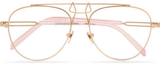 Calvin Klein Aviator-style Leather-trimmed Gold-tone Optical Glasses