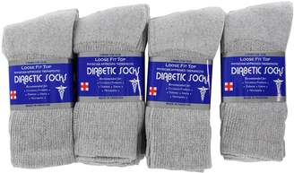 QuStars 12 Pairs of Men's Cotton Diabetic Crew Socks Therapeutic Physician Approved