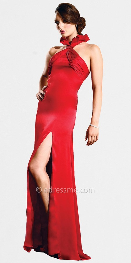 Red Sleak Halter Evening Gown by Nika
