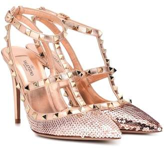 Valentino Rockstud sequinned leather pumps
