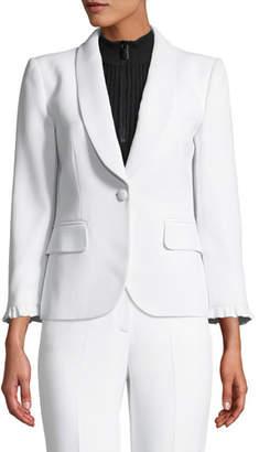 Michael Kors Ruffle-Cuff Button-Front Crepe Blazer