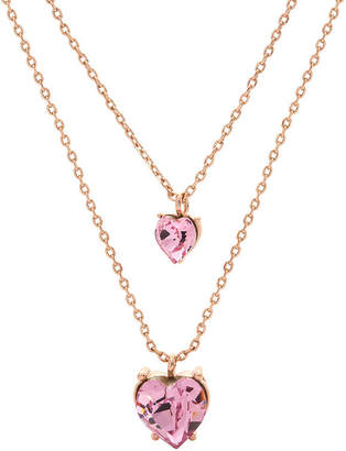 Swarovski CITY ROCKS City Rocks Crystal Heart Womens Lab Created Pink Crystal 14k Rose Gold Over Brass Heart Double Pendant Necklace