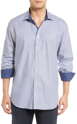 Men's Big & Tall Bugatchi Shaped Fit Basketweave Check Sport Shirt $149 thestylecure.com