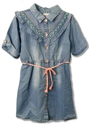 Limited Too Embroidered Ruffled 3/4 Sleeve Denim Dress (Big Girls)