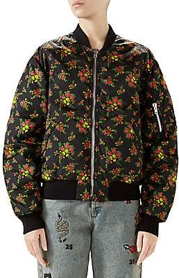 Gucci Women's Floral Bouquets Nylon Jacket