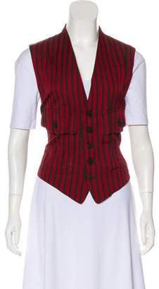 Issey Miyake Striped Button-Up Vest