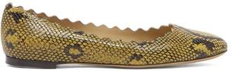 Chloé Lauren Scallop Edge Snake Effect Leather Flats - Womens - Yellow Multi