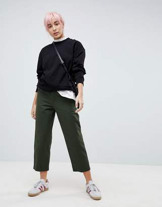 Asos DESIGN high waisted mom chinos in forest green