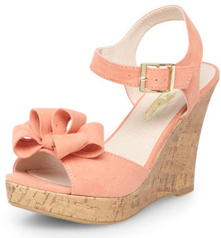 Dorothy Perkins Apricot bow wedges