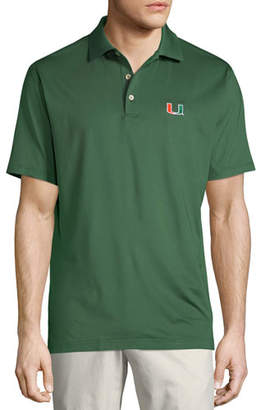 Peter Millar Men's University of Miami Solid Polo Shirt, Green