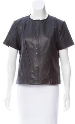 Alexander Wang Leather Short Sleeve Top