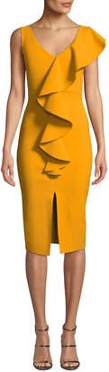 Chiara Boni Boudicea V-Neck Sleeveless Body-Con Dress w/ Asymmetric Front Ruffle