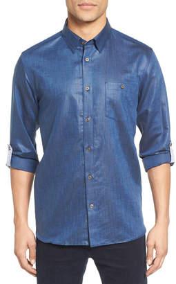 Ted Baker Laavno Extra Slim Fit Linen Blend Sport Shirt