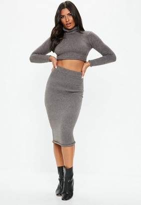 Missguided Dark Gray Ribbed Knit Skirt