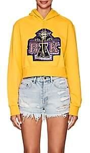 Balmain for Beyoncé Women's Embellished Cotton Terry Crop Hoodie - Yellow
