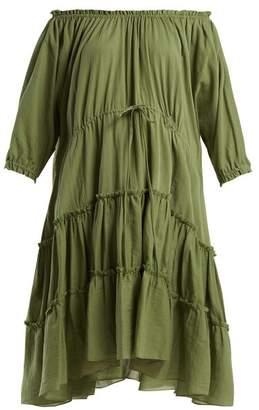 Loup Charmant - Kassos Off The Shoulder Cotton Dress - Womens - Khaki