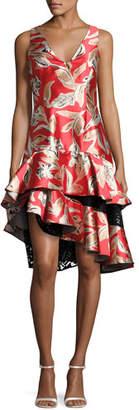 Sachin + Babi Margot Sleeveless Tiered Asymmetric Cocktail Dress