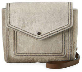 Brunello Cucinelli Velvet City Crossbody Bag with Monili Trim