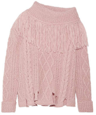 Philosophy di Lorenzo Serafini Fringed Off-the-shoulder Cable-knit Alpaca-blend Sweater - Baby pink