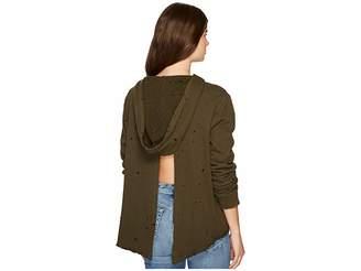 Paige Project Social T Cross-Back Distressed Hoodie Women's Sweatshirt