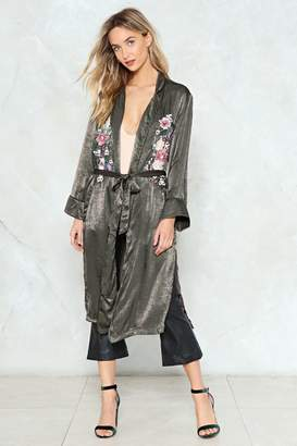 Nasty Gal Keep It Growing Satin Duster Jacket