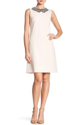 Betsey Johnson Mock Pearl Collared Sleeveless Crepe Dress