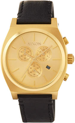 Nixon 39mm Time Teller Chrono Leather Watch, Golden/Black