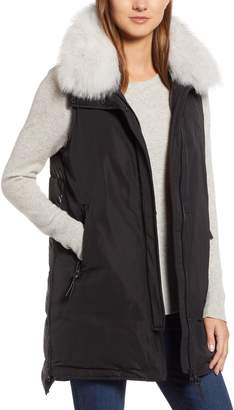 Derek Lam 10 Crosby Genuine Fox Fur Trim Down Vest