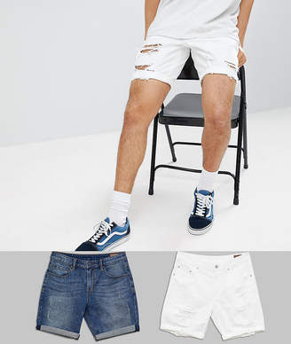 Asos Design DESIGN Denim Shorts In Slim Mid Wash With Abrasions And White With Heavy Rips