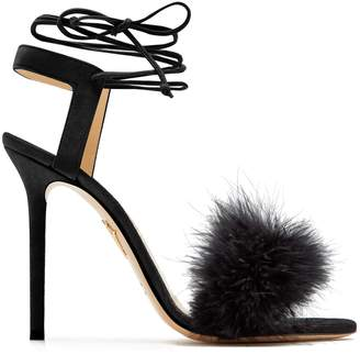 Charlotte Olympia Salsa feather-embellished suede sandals
