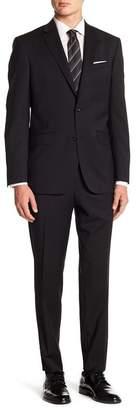 Ted Baker Jones Black Solid Two Button Notch Lapel Wool Trim Fit Suit