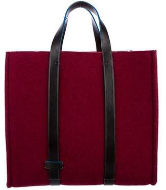 Fendi Leather-Trimmed Wool Tote